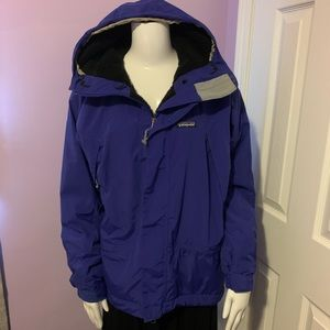 Patagonia Purple Parka Jacket Coat Black Fleece XS